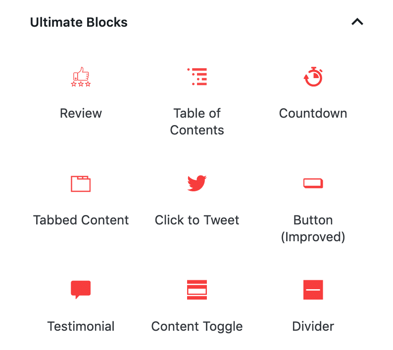List of Custom Blocks available in Ultimate Blocks.
