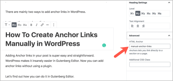 How To Create Anchor Links In WordPress (Gutenberg Editor)