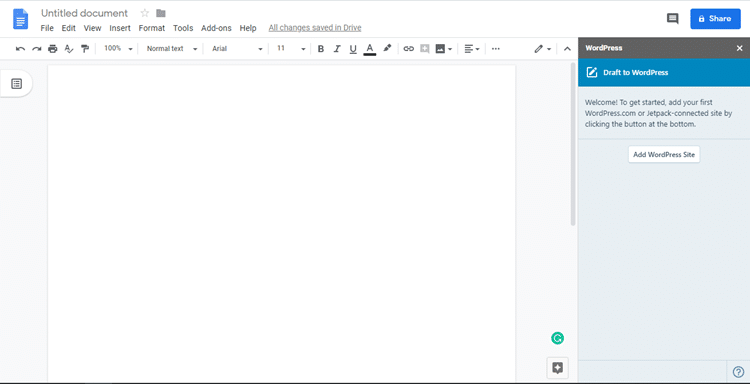 Add WordPress Site to Google Docs